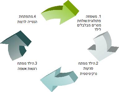 המעגל המרושע שבו גדל הקורבן: 1. משפחה פתולוגית שולחת מסרים מבלבלים לילד 2. הילד מפתח פגיעות נרקיסיסטית 3. הילד מפתח רגשות אשמה 4. מתפתחת הנטייה לרצות.